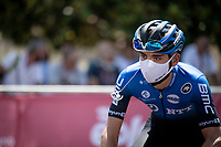 Matteo Sobrero (ITA/NTT) at sign-on<br /> <br /> 14th Strade Bianche 2020<br /> Siena > Siena: 184km (ITALY)<br /> <br /> delayed 2020 (summer!) edition because of the Covid19 pandemic > 1st post-Covid19 World Tour race after all races worldwide were cancelled in march 2020 by the UCI