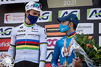 World Champion Julian Alaphilippe (FRA/Deceuninck - QuickStep) wins his 3rd Fléche and is standing next to 5-times winner Alejandro Valverde (ESP/Movistar), who finished 3rd today in his very last appearance in the race<br /> <br /> 85th La Flèche Wallonne 2021 (1.UWT)<br /> 1 day race from Charleroi to the Mur de Huy (BEL): 194km<br /> <br /> ©kramon