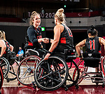Arinn Young and Kathleen Dandeneau, Tokyo 2020 - Wheelchair Basketball // Basketball en fauteuil roulant.<br /> Canada takes on Germany in a women's preliminary game // Le Canada affronte le Japon dans un match préliminaire masculin. 28/08/2021.