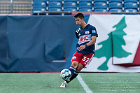 FOXBOROUGH, MA - JULY 25: USL League One (United Soccer League) match. Simon Lekressner #32 of New England Revolution II passes the ball during a game between Union Omaha and New England Revolution II at Gillette Stadium on July 25, 2020 in Foxborough, Massachusetts.