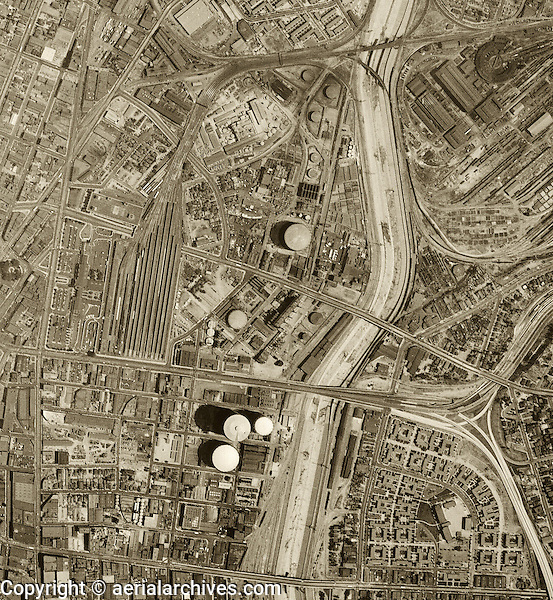 Historical aerial photograph of Los Angeles, California 1948