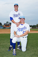 Ian Tompkins (23) and Riley King (31) of the Burlington Royals pose for a photo prior to the game against the Princeton Rays at Burlington Athletic Park on July 9, 2014 in Burlington, North Carolina.  The Rays defeated the Royals 3-0.  (Brian Westerholt/Four Seam Images)
