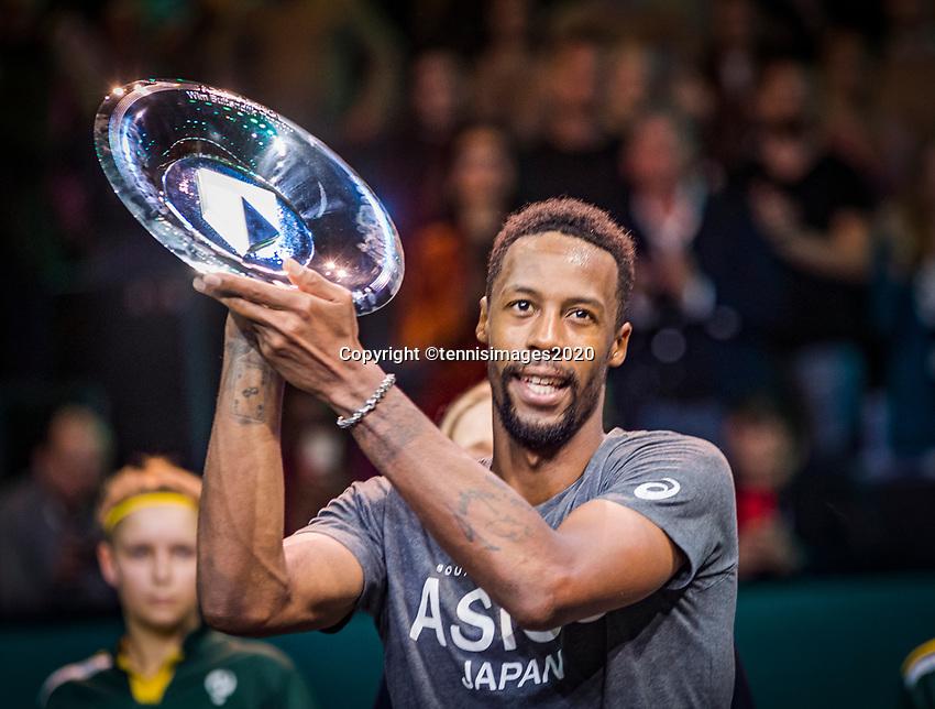 Rotterdam, The Netherlands, 15 Februari 2020, ABNAMRO World Tennis Tournament, Ahoy,<br /> Mens Single Final: Gaël Monfils (FRA)  gets the trophy <br /> Photo: www.tennisimages.com