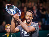 Rotterdam, The Netherlands, 15 Februari 2020, ABNAMRO World Tennis Tournament, Ahoy,<br /> Mens Single Final: Gaël Monfils (FRA)  gets the trophy <br /> Photo: www.tennisimages.com