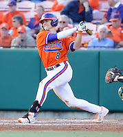 Third baseman Richie Shaffer (8) of the Clemson Tigers in a game against the University of Alabama-Birmingham on Feb. 17, 2012, at Doug Kingsmore Stadium in Clemson, South Carolina. UAB won 2-1. (Tom Priddy/Four Seam Images)