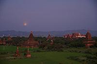 Moon rise over Bagan, Myanmar