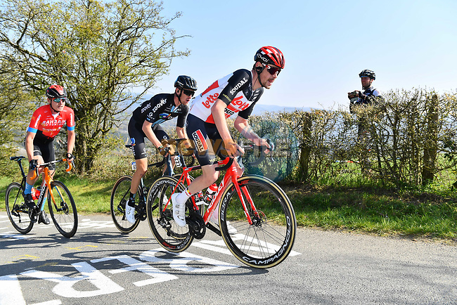Harm Vanhoucke (BEL) Lotto-Soudal and Mark Donovan (GBR) Team-DSM climb La Redoute during the 107th edition of Liege-Bastogne-Liege 2021, running 259.1km from Liege to Liege, Belgium. 25th April 221.  <br /> Picture: Serge Waldbillig | Cyclefile<br /> <br /> All photos usage must carry mandatory copyright credit (© Cyclefile | Serge Waldbillig)