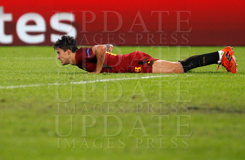 Roma s Diego Perotti reacts after missing a scoring chance during the Champions League Group C soccer match between Roma and Chelsea at Rome's Olympic stadium, October 31, 2017.<br /> UPDATE IMAGES PRESS/Riccardo De Luca