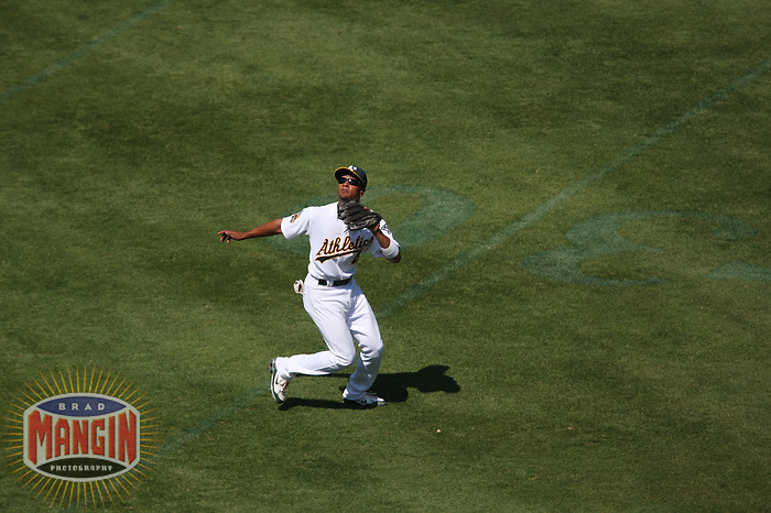 OAKLAND, CA - AUGUST 17:  Eric Patterson of the Oakland Athletics catches pop up at second base during the game against the Chicago White Sox at the McAfee Coliseum in Oakland, California on August 17, 2008.  The White Sox defeated the Athletics 13-1.  Photo by Brad Mangin