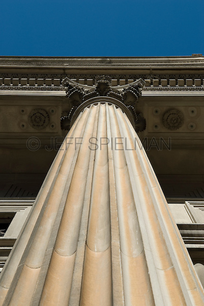 AVAILABLE FROM JEFF FOR LICENSING.<br /> <br /> Upward View of Neo-Classical Stone Column, Lower Manhattan, New York City, New York State, USA