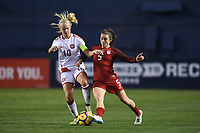 San Diego, CA - Sunday January 21, 2018: Pernille Harder, Kelley O'Hara prior to an international friendly between the women's national teams of the United States (USA) and Denmark (DEN) at SDCCU Stadium.