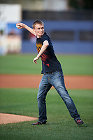 Actor Jeremy Ambler, who appeared on the show The Walking Dead as a zombie throws out the ceremonial first pitch before a game against the Mahoning Valley Scrappers on July 8, 2017 at BB&T Ballpark at Historic Bowman Field in Williamsport, Pennsylvania.  Williamsport defeated Mahoning Valley 6-1.  (Mike Janes/Four Seam Images)