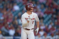 Conor McKenna (5) of the Oklahoma Sooners hustles down the first base line against the Arkansas Razorbacks in game two of the 2020 Shriners Hospitals for Children College Classic at Minute Maid Park on February 28, 2020 in Houston, Texas. The Sooners defeated the Razorbacks 6-3. (Brian Westerholt/Four Seam Images)