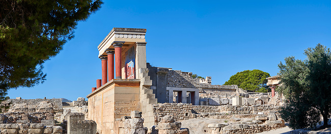 Panorama of the Minoan North Entrance Propylaeum with its painted charging  bull releif,  Knossos Palace archaeological site, Crete
