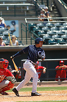 Charleston River Dogs outfielder Carlos Vidal (4) at bat during a game against the Lakewood BlueClaws at Joseph P. Riley, Jr. Ballpark on May 3, 2017 in Charleston, South Carolina. Lakewood defeated Charleston 11-6. (Robert Gurganus/Four Seam Images)