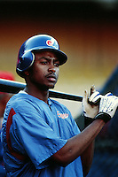 Wilton Guerrero of the Montreal Expos during a game against the Los Angeles Dodgers at Dodger Stadium circa 1999 in Los Angeles, California. (Larry Goren/Four Seam Images)