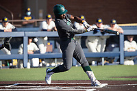 Michigan State outfielder Zaid Walker (3) swings the bat against the Michigan Wolverines on March 21, 2021 in NCAA baseball action at Ray Fisher Stadium in Ann Arbor, Michigan. Michigan scored 8 runs in the bottom of the ninth inning to defeat the Spartans 8-7. (Andrew Woolley/Four Seam Images)