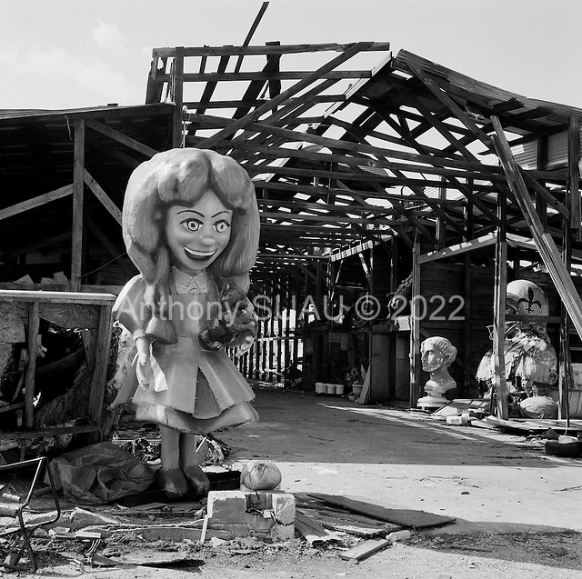 New Orleans, Louisiana.USA.March 1, 2006..Floats for Mardi Gras are stored near the lower ninth ward and many are damaged from hurricane Kartina-levee break flooding of the city.