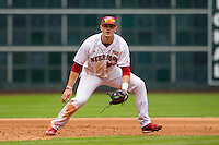 Nebraska Cornhuskers third baseman Blake Headley (22) on defense during the NCAA baseball game against the Hawaii Rainbow Warriors on March 7, 2015 at the Houston College Classic held at Minute Maid Park in Houston, Texas. Nebraska defeated Hawaii 4-3. (Andrew Woolley/Four Seam Images)