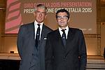Raimondo Zanaboni and Paolo Bellino among the guests at the Giro d'Italia 2015 presentation, Milan, Italy. 6th October 2014. <br /> Photo:Gian Mattia D'Alberto/LaPresse/www.newsfile.ie