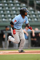 Shortstop Yonny Hernandez (1) of the Hickory Crawdads runs out a batted ball during a game against the Greenville Drive on Monday, August 20, 2018, at Fluor Field at the West End in Greenville, South Carolina. Hickory won, 11-2. (Tom Priddy/Four Seam Images)