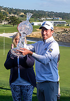9th February 2020, Pebble Beach, Carmel, California, USA; Nick Taylor holds up the trophy for the win of the championship round of the AT&T Pro-Am on Sunday