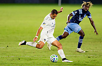 """CARSON, CA - OCTOBER 18: Javier """"Chicharito"""" Hernandez #14 of the Los Angeles Galaxy passes off the ball during a game between Vancouver Whitecaps and Los Angeles Galaxy at Dignity Heath Sports Park on October 18, 2020 in Carson, California."""