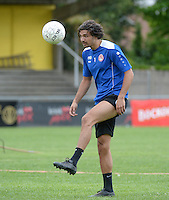 20150627 - Lauwe , BELGIUM : Kortrijk's Elohim Rolland pictured during a friendly match between Belgian first division team KV Kortrijk and Belgian third division soccer team FC Izegem , during the preparations for the 2015-2016 season, Saturday 27th June 2015 in Lauwe. PHOTO DAVID CATRY