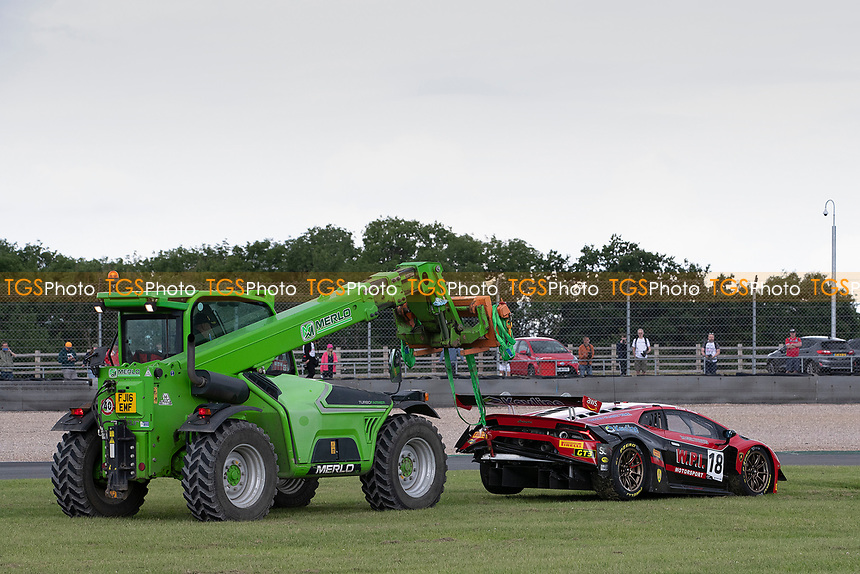 Michael Igoe & Phil Keen, Lamborghini Huracan GT3 EVO, WPI Motorsport is pulled from the circuit during the British GT & F3 Championship on 11th July 2021