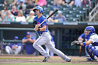 Round Rock Express left fielder Patrick Cantwell (3) swings during a game against the Iowa Cubs at Principal Park on April 16, 2017 in Des  Moines, Iowa.  The Cubs won 6-3.  (Dennis Hubbard/Four Seam Images)
