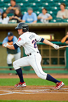 Brock Stassi (28) of the Lakewood BlueClaws follows through on his swing against the Kannapolis Intimidators at FirstEnergy Park on August 8, 2012 in Lakewood, New Jersey.  The BlueClaws defeated the Intimidators 5-0.  (Brian Westerholt/Four Seam Images)