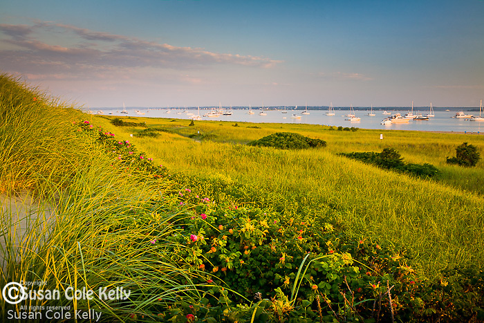 Watch Hill Harbor seen from the Napatree Point Preserve, Watch Hill, RI, USA