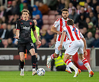 1st October 2021;  Bet365 Stadium, Stoke, Staffordshire, England; EFL Championship football, Stoke City versus West Bromwich Albion; Adam Reach of West Bromwich Albion looks to pass the ball