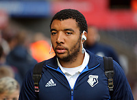 Troy Deeney of Watford arrives prior to the game during the Premier League match between Swansea City and Watford at The Liberty Stadium, Swansea, Wales, UK. Saturday 23 September 2017
