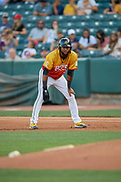 Jo Adell (26) of the Salt Lake Bees takes his lead from first base against the Oklahoma City Dodgers at Smith's Ballpark on August 1, 2019 in Salt Lake City, Utah. The Bees defeated the Dodgers 14-4. (Stephen Smith/Four Seam Images)