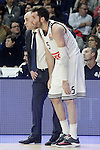 Real Madrid's coach Pablo Laso with Rudy Fernandez during Euroleague match.February 5,2015. (ALTERPHOTOS/Acero)