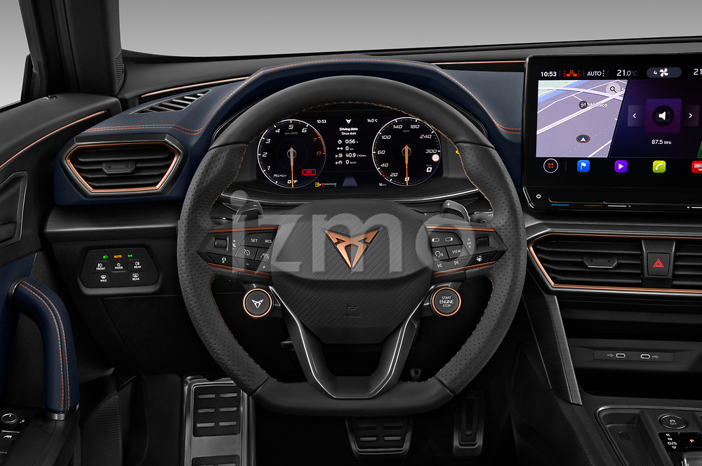 Steering wheel view of a 2021 Cupra Formentor SUV
