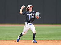 IMG Academy Ascenders Black second baseman Garrett Gregory (10) during the IMG National Classic on March 29, 2021 at IMG Academy in Bradenton, Florida.  (Mike Janes/Four Seam Images)