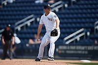 Scranton/Wilkes-Barre RailRiders relief pitcher Adam Warren (22) in action against the Rochester Red Wings at PNC Field on July 25, 2021 in Moosic, Pennsylvania. (Brian Westerholt/Four Seam Images)