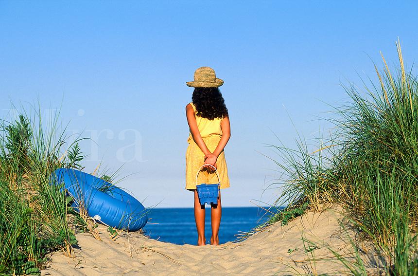 Young girl on path to beach, Cape Cod National Seashore, Nauset Beach, Cape Cod