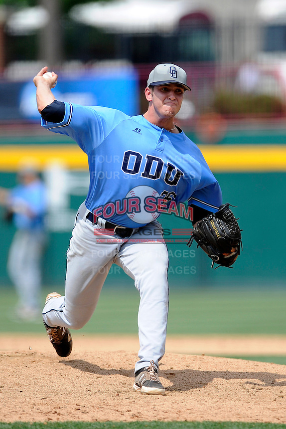 Relief pitcher Connor Overton (36) of the Old Dominion Monarchs in an NCAA Division I Baseball Regional Tournament game against the Maryland Terrapins on Friday, May 30, 2014, at Carolina Stadium in Columbia, South Carolina. Maryland won, 4-3. (Tom Priddy/Four Seam Images)