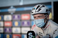 Oliver Naesen (BEL/AG2R Citroën) interviewed at the no-fans-allowed (due to Covid-19) team presentation of the 76th Omloop Het Nieuwsblad 2021<br /> ME(1.UWT)<br /> 1 day race from Ghent to Ninove (BEL): 200km<br /> <br /> ©kramon