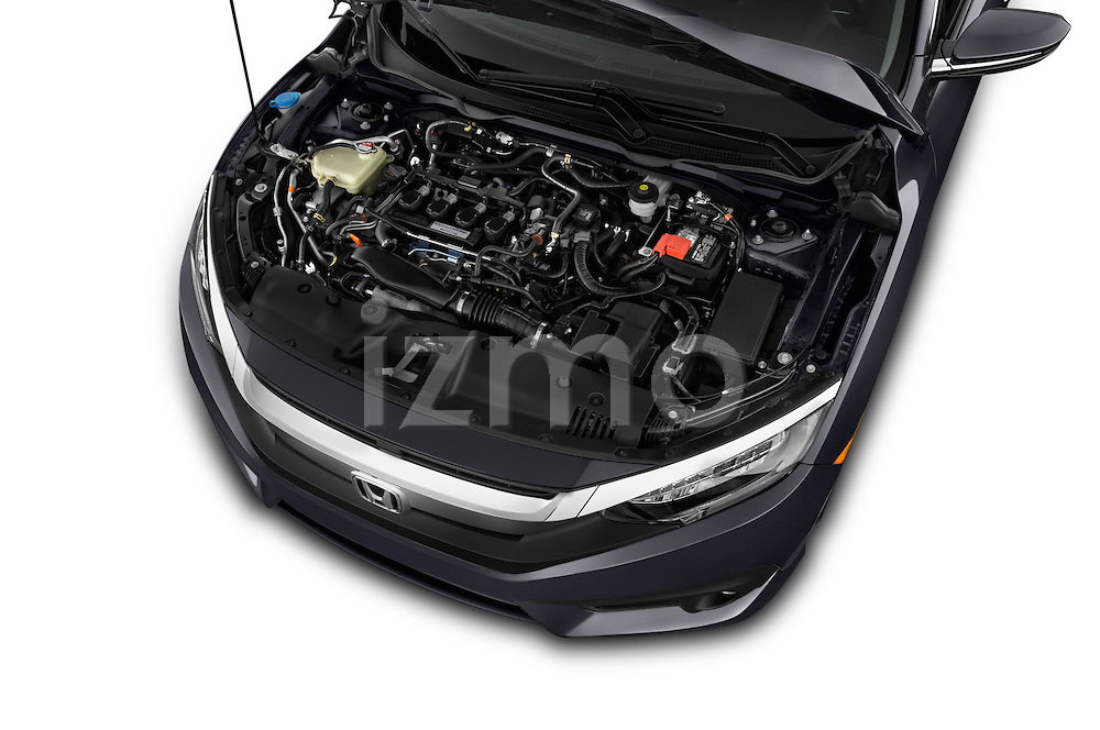 Car Stock 2018 Honda Civic Touring CVT 4 Door Sedan Engine  high angle detail view