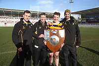 MEDALLION SHILED FINAL   Monday 10th March 2015<br /> <br /> RBAI skipper Ethan Glover and his coaches Stephen McMullan, Jonathan Peak and Gavin Monteith after the 2015 Ulster Schools Medallion Shield Final at the Kingspan Stadium, Ravenhill Park, Belfast.<br /> <br /> Picture credit: John Dickson / DICKSONDIGITAL