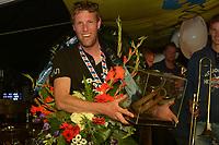 ZEILSPORT: LEMMER: 25-08-2018, Winnaars IFKS skûtsjesilen, Pieter Jilles Tjoelker kampioen in de C-klasse skûtsje de Sterke Jerke, ©foto Martin de Jong
