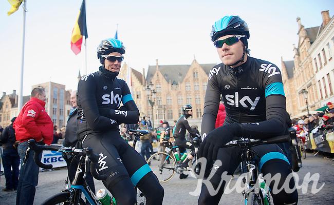 Ronde van Vlaanderen 2013..Mathew Hayman (AUS) & Luke Rowe (GBR) among the first at the start line
