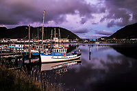 Boats on the Greymouth River in Greymouth, New Zealand