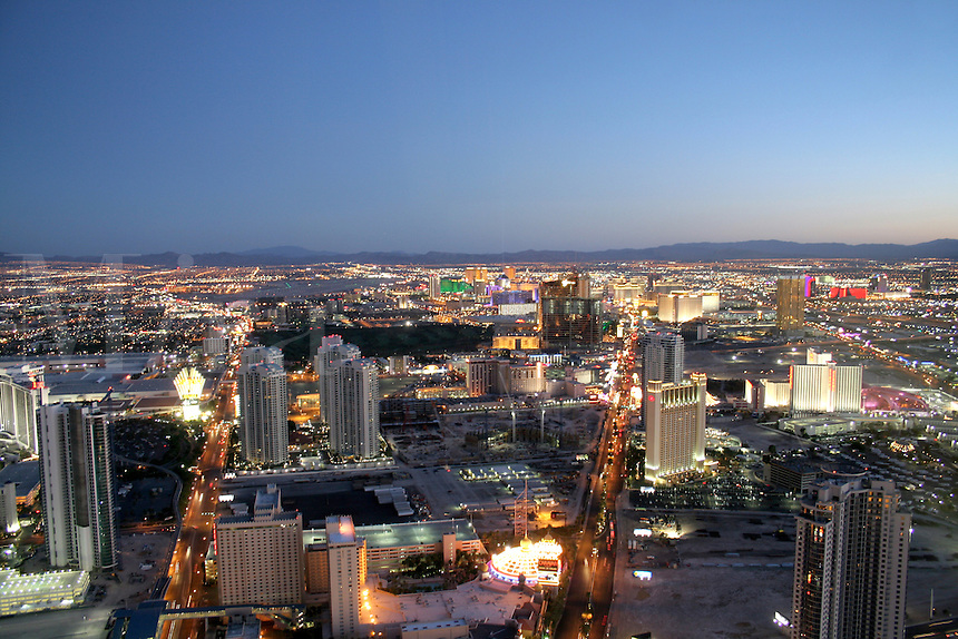 Aerial view dusk lighting The Strip Las Vegas Nevada