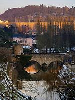 Viadukt in Clausen, Brücke Stierchen über die Alzette, Luxemburg-City, Luxemburg, Europa, UNESCO-Weltkulturerbe<br /> Viaduct in Clausen, Bridge Stierchen, Luxembourg City, Europe, UNESCO Heritage Site