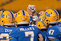 Pitt football team huddle. The North Carolina Tarheels defeated the Pitt Panthers football team 34-31 at Heinz Field, Pittsburgh, Pennsylvania on November 9, 2017.